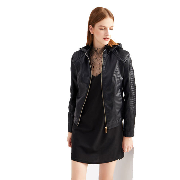 Fashion Plus Size Plus Velvet Leather Jacket Hooded Short Jacket Warm Autumn Winter Women's Jacket