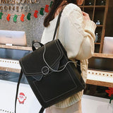 Retro PU Frosted Cat Ears Circular Ring Flap Square School Girl's Backpack For Big Sale!- Fowish.com