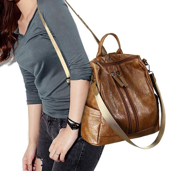 Retro PU Multi function Shoulder Bag Casual Double Zippers School Student Backpack For Big Sale!- Fowish.com