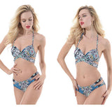 Sexy Women's Colorful Folk Totem Printing Halter Hollowed-out Bikini Sling Swimsuit For Big Sale!- Fowish.com