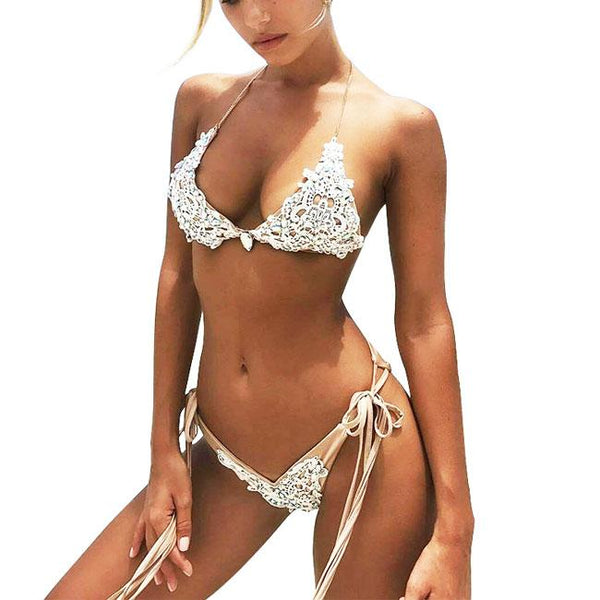 Sexy Women's White Lace Hollowed-out Sequins Backless V-neck Bikini Sling Swimsuit For Big Sale!- Fowish.com
