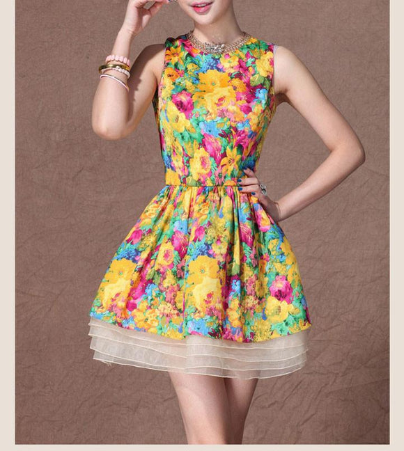 Unique Latest Floral Silk Dress&Party Dress For Big Sale!- Fowish.com