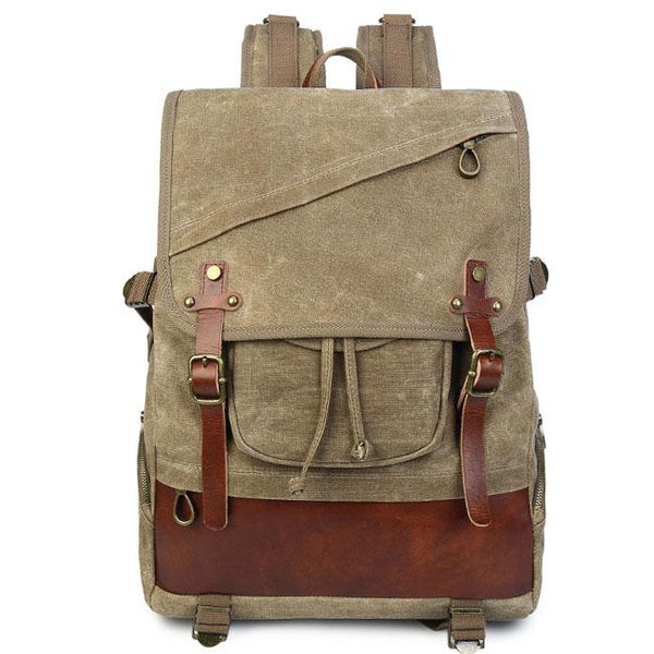Retro Leisure Oblique Zipper Men's Outdoor Waterproof Large Double Belt Travel Canvas Backpack For Big Sale!- Fowish.com