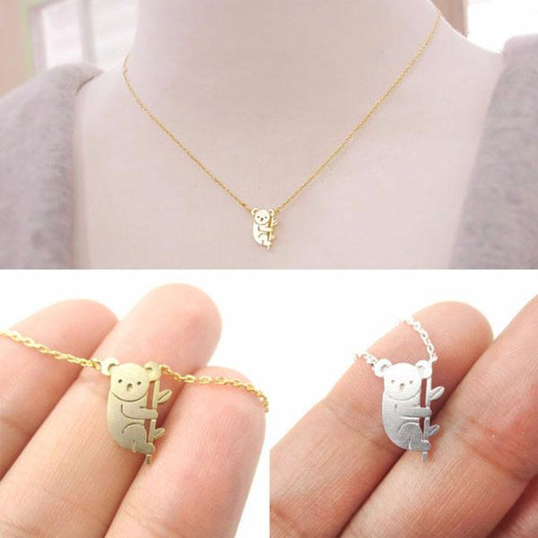 Cute Bear Pendant Necklace Small Animal Gold Silver Plating Necklace For Big Sale!- Fowish.com