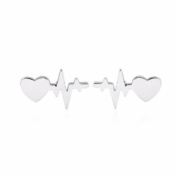 Romantic Women's Heartbeat Electrocardiogram Earrings Heart Love Earrings Studs For Big Sale!- Fowish.com