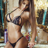 Sexy Lady's V-neck Lace Hollowed-out Halter See Through Embroidery Backless Sexy Bikini Lingerie For Big Sale!- Fowish.com