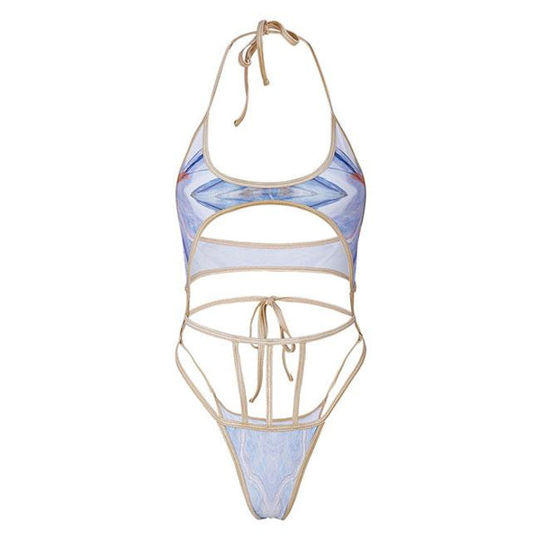 Sexy Contrast Bandage One Piece Summer Swimsuit Women's Bikini For Big Sale!- Fowish.com