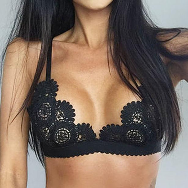 Sexy Lady's V-neck Lace Hollowed-out See Through Bra Flowers Embroidery Backless Sexy Bikini Lingerie For Big Sale!- Fowish.com