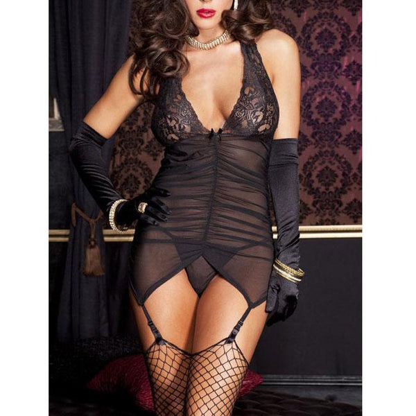 Sexy Women's V-neck Lace Mesh Backless wrinkles Braces Dress Lingerie For Big Sale!- Fowish.com