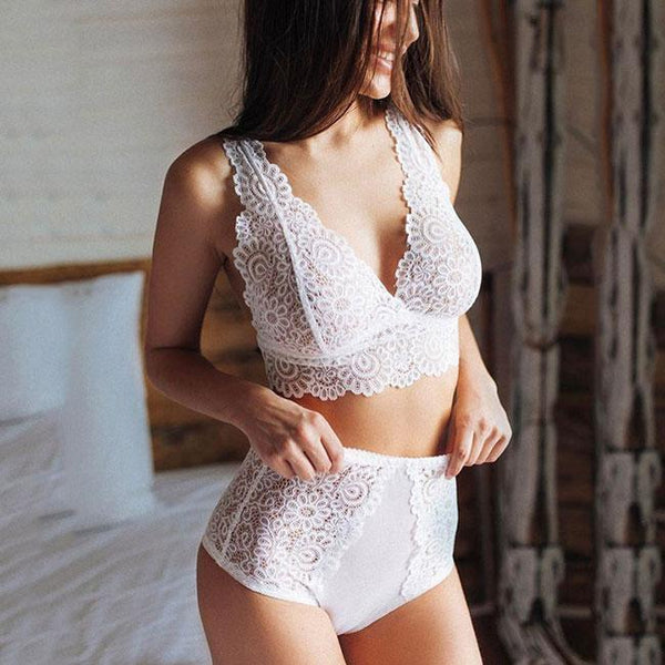 Sexy White Lace Sleepwear Lingerie See Through 2 Pieces Women's Lingerie For Big Sale!- Fowish.com