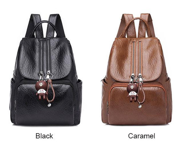 Retro Soft PU Women's Backpack Ladies Double Zipper Brown School Bag For Big Sale!- Fowish.com