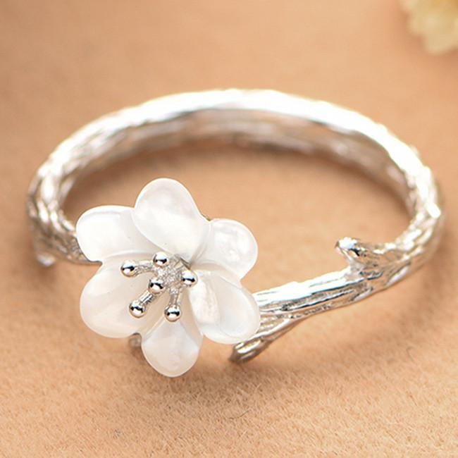 Retro Unique Silver Pearl Shellfish Cherry Imitating Branch Lines Ring Open Ring For Big Sale!- Fowish.com