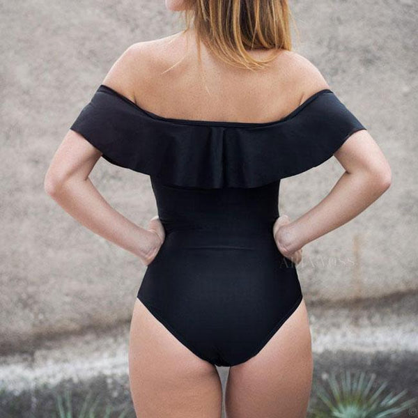 Sexy Flounce Bare Shoulder One Piece Women's Swimsuit Stripe Lotus Leaf Bikinis For Big Sale!- Fowish.com