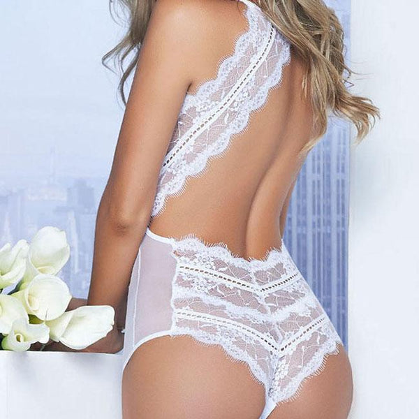 Sexy Lace Stitching Underwear Backless Chemise See Through Women's Lingerie For Big Sale!- Fowish.com