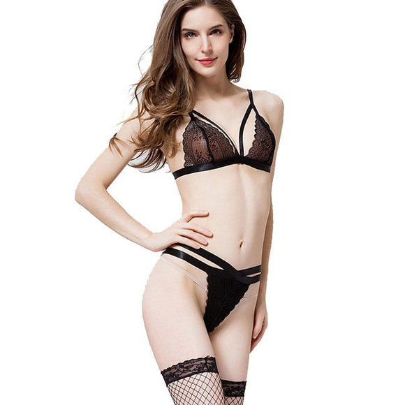 Sexy Chemise Lace Stitching 2 Pieces Women's Cross Underwear Lingerie For Big Sale!- Fowish.com