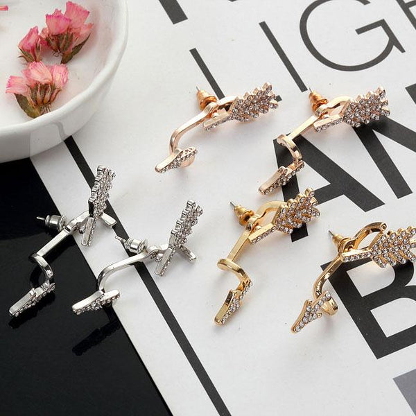 Punk 3D Diamond Exaggerated Split Arrow Earrings Studs For Big Sale!- Fowish.com