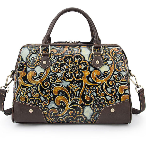 Vintage Handmade Embossing Smooth Flower Embossing Travel Rivet Handbag Large Pillow Style Shoulder Bag