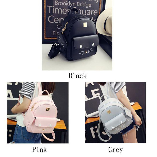 Cute Cartoon Cat Backpack Casual Leather Kitty Rucksack Shoulder School Bags For Big Sale!- Fowish.com