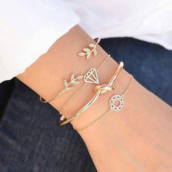Cute Personality Leaf Diamond Open Four Piece Women Bracelet