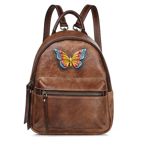Retro Original 3D Butterfly Lady Cowhide Backpack Vintage Handmade Small Backpack