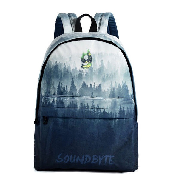 New Creative Blue Ink Painting Tree Forest High School Bag Canvas Large Backpack