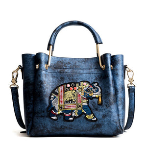 Cute Elephant Embroidery Handbag Shoulder Bag Cartoon Bucket Bag