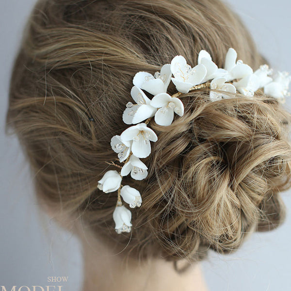 Cute Bridal Hairpin Flower Ceramic Hair Comb Wedding Hair Accessories