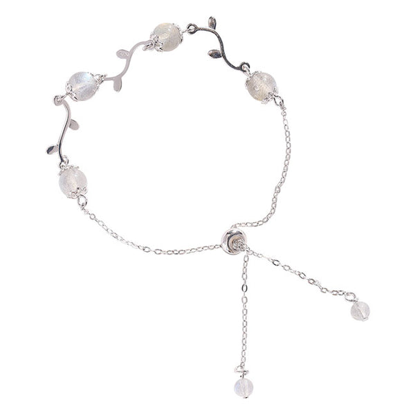 Fashion Moonstone Branch Leaves Silver Romantic Women Bracelet
