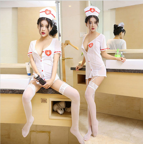 Sexy Uniform Innocent Temptation Short Nightdress Female Stocking Lingerie Nurse Cosplay Lingerie