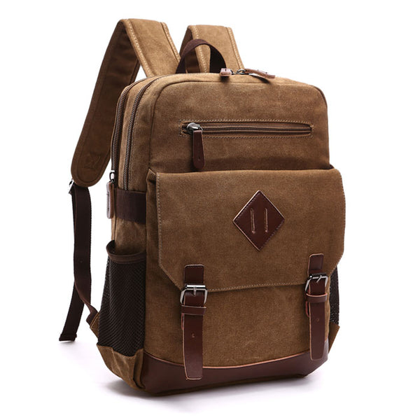 Retro Travel Laptop Backpack Double Buckle Trunk Canvas School Backpack