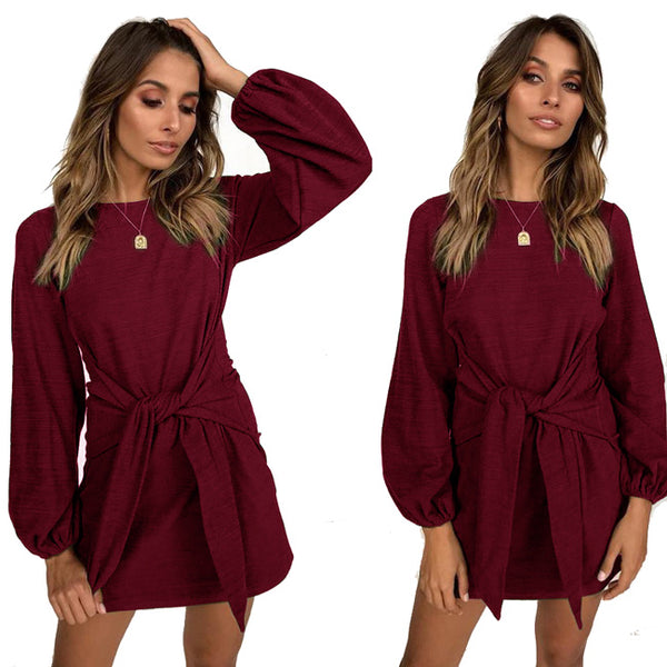 Casual Tie Design Long-sleeved Pure Color Autumn Women's Dress
