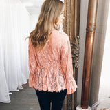 Fashionable Long Sleeve Hollow Lace Casual Women's Tops Shirts