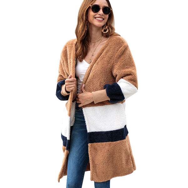 Fashion Warm Velvet Loose Long Sweater Women Striped Long Cardigan Autumn Coat