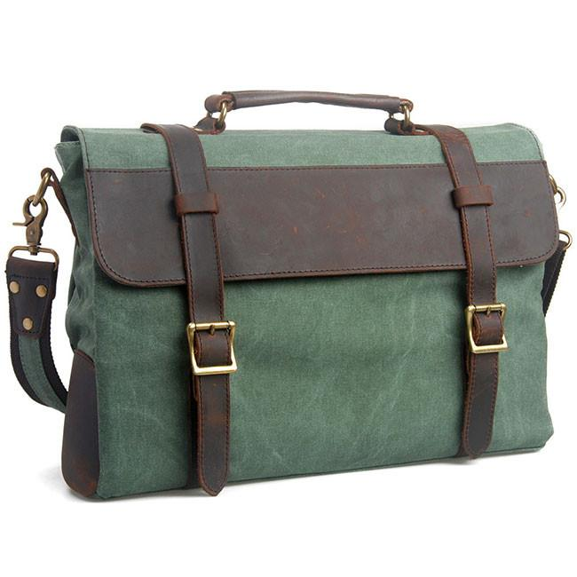 Retro Mental Lock Leather Large Square Splicing Double Buton Canvas Shoulder Bag For Big Sale!- Fowish.com