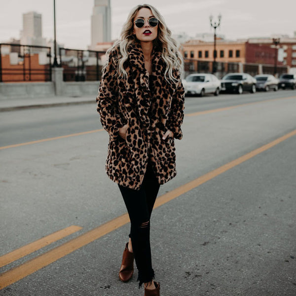 Sexy Lapel Leopard Faux fur Thicken Autumn Winter Leopard Women Coat