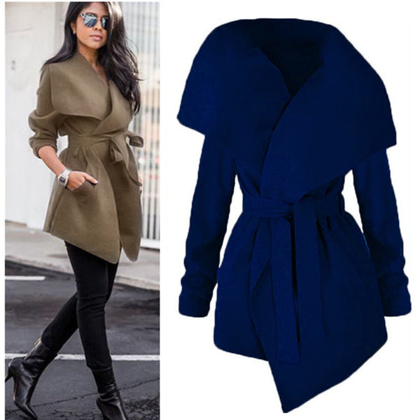 Fashion Woolen Wide Collar Irregular  Women's Large Size Long Velvet Coat