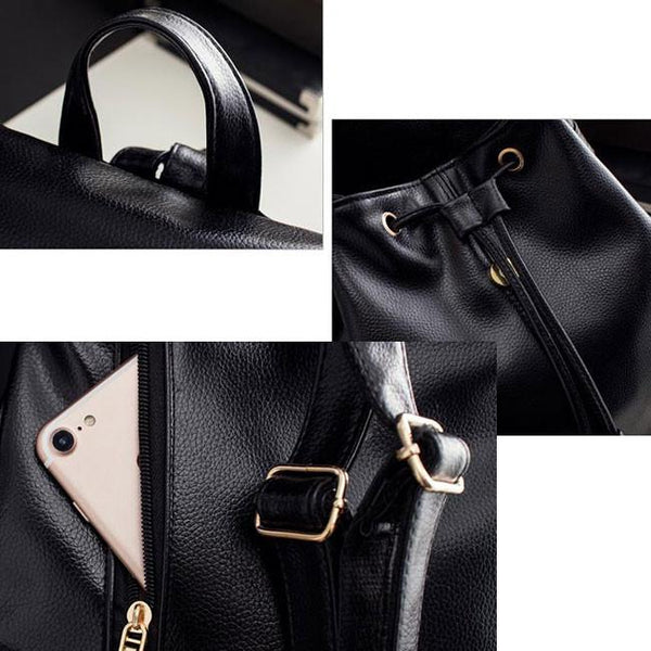 Simple Black PU School Travel Gift Clutch College Backpack For Big Sale!- Fowish.com