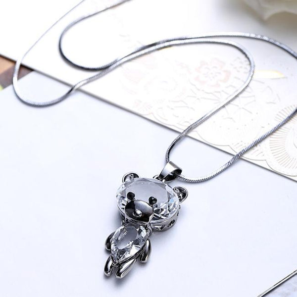 Cute Crystal Dancing Bear Doll Pendant Necklace Sweater Chain Necklace For Big Sale!- Fowish.com