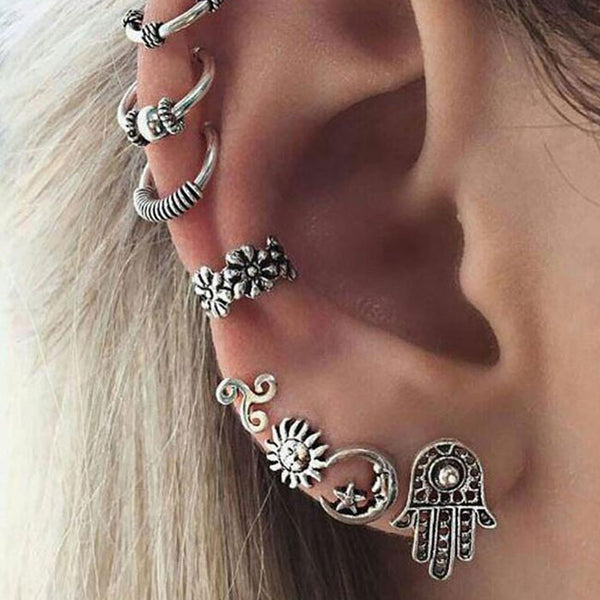 Retro Moon Sun Earring Clips Crown Tortoise Feather Flower Leaves Bohemia Shell Anchor Star Owl Elephant Earrings Studs