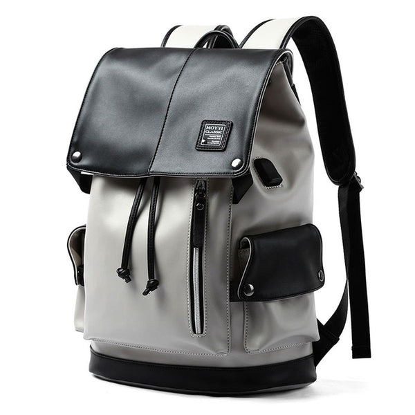 New Vertical Zipper PU Men's School Bag Gray USB Port Large Capacity Computer Backpack