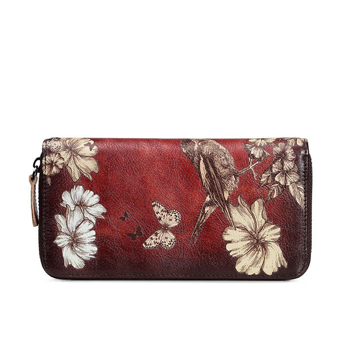 Retro Flower Bird Butterfly Embossing Purse Large Phone Clutch Bag Handmade Lady Wallet