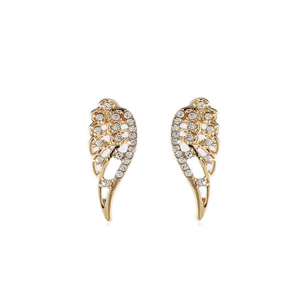 Unique Design Angel Wings Rhinestone Girl's Earring Studs