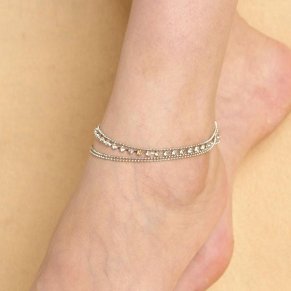 Fashion Sexy 3 Layer Stretch Rhinestone Anklet Barefoot Bracelet For Big Sale!- Fowish.com