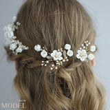 Sweet Branch Leaves Pearl Crystal Wedding Bridal White Flower Hair Band Hairpin Accessories