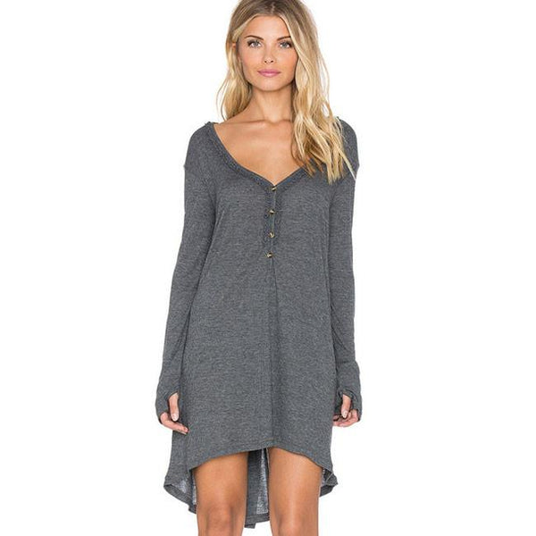 Fashion Casual Irregular Long Sleeve V Neck Loose T-shirt Dress For Big Sale!- Fowish.com