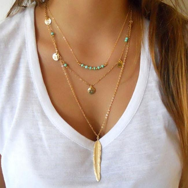 Multilayer Leaves Feather Y-Necklaces Trendy Turquoise Women Necklace For Big Sale!- Fowish.com