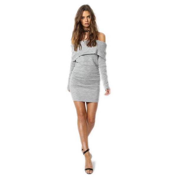 Womens Bodycon Boat Neck Evening Party Long Sleeve Short Dress For Big Sale!- Fowish.com