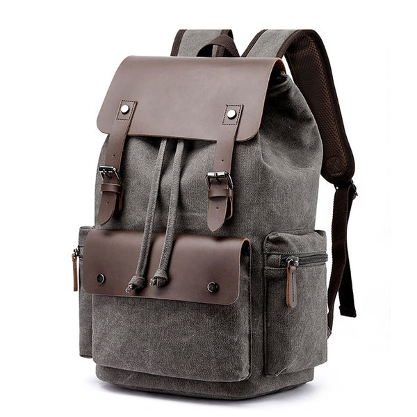 Retro Double Buckle Leather Thick Canvas Large Travel Bag School Backpacks
