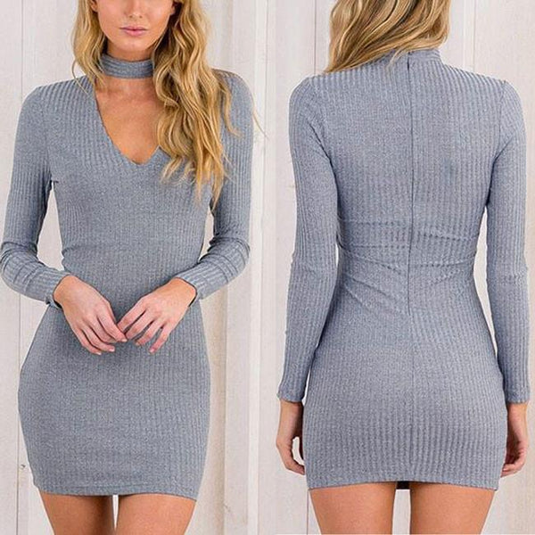 Sexy Long Sleeve V-neck Boutique Bodycon Mini Dress Base Skirt For Big Sale!- Fowish.com