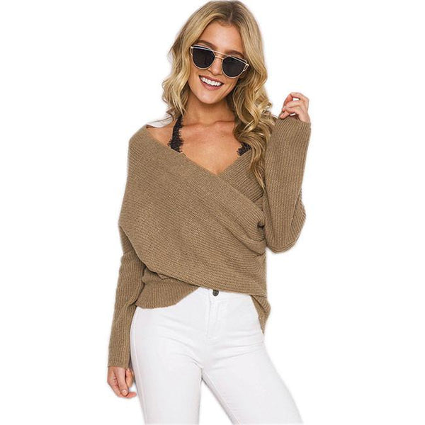 Women's V Neck Off Shoulder Knitted Wrap Sweater Pullover For Big Sale!- Fowish.com